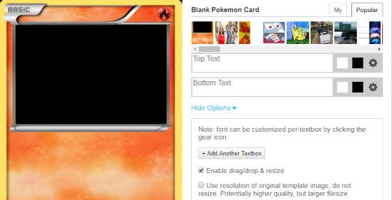 create pokemon card online