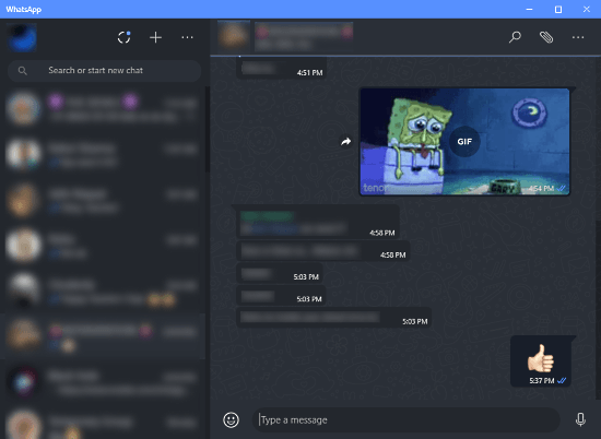 dark mode on WhatsApp desktop client