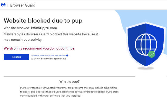 harmful website blocked