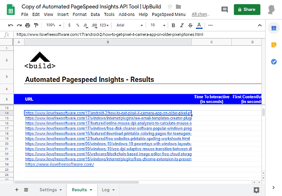 automate pagespeed insight for multiple url in google sheets