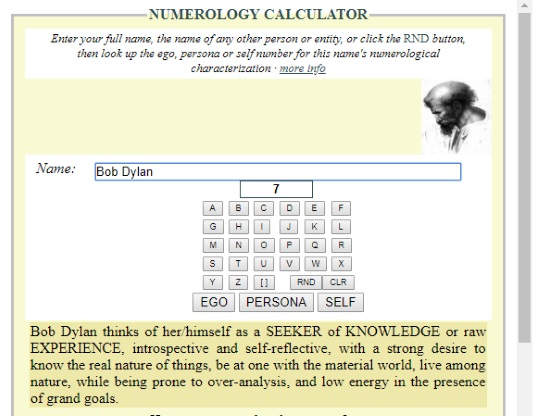 online word numerology calculator