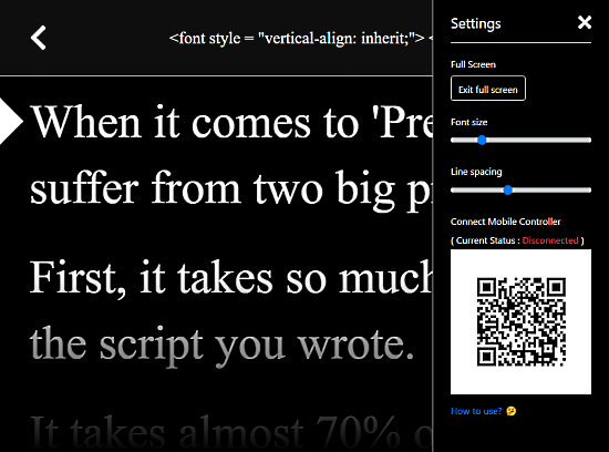 browser-based teleprompter with mobile controller