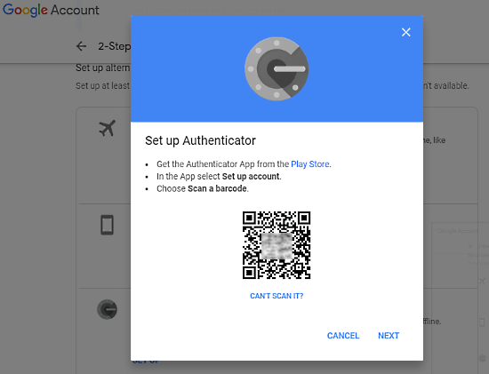 add two-factor authentification app