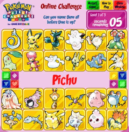 play pokemon puzzle games