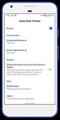 schedule dark mode in Android 10