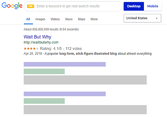 preview serp snippet of a website