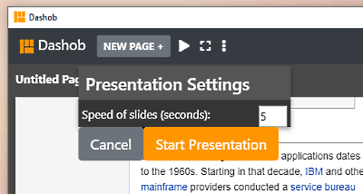split screen browser with presentation mode