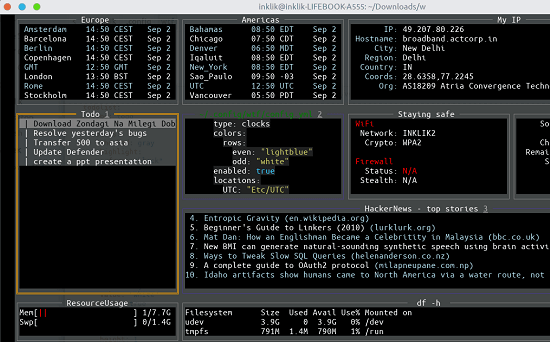 terminal dashboard in action