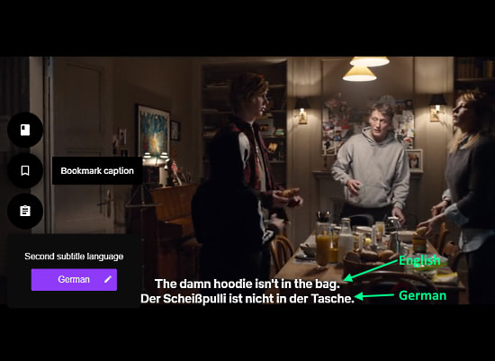 get subtitles in two languages on netflix