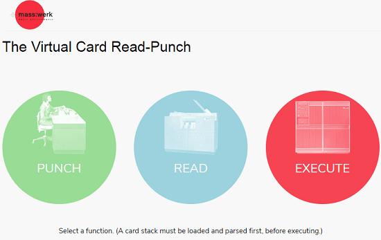 Card Read-Punch by Masswerk punch card generator