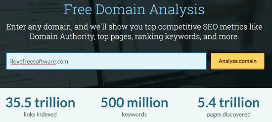 Domain Analysis Enter Website