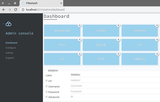 Filestash admin dashboard