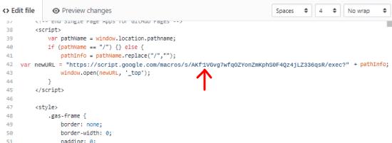 Gapps URL in HTML FILE