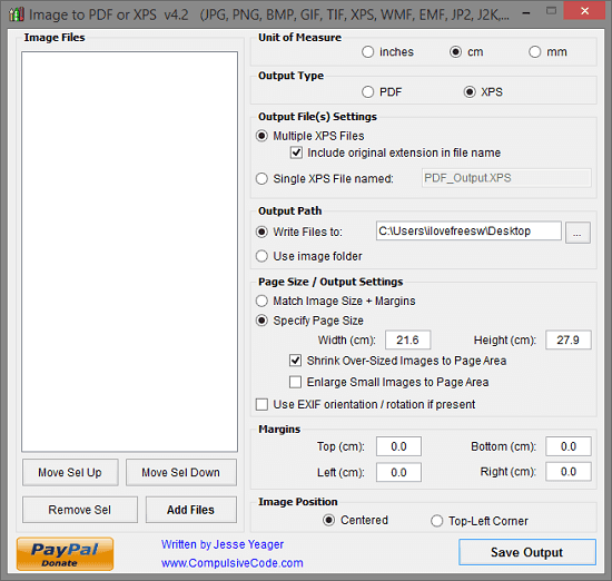 Image to PDF or XPS interface