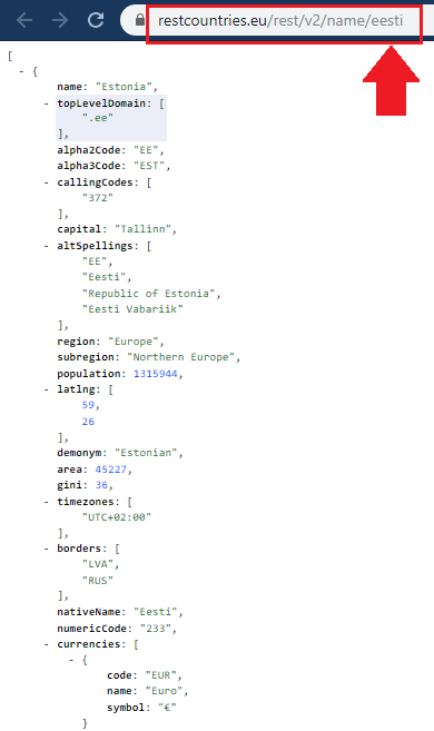 REST Countries API Syntax for Partial Name