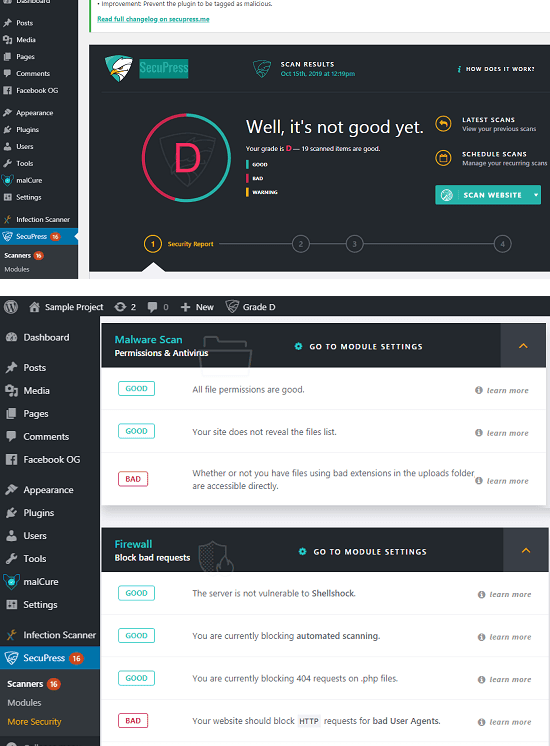 SecuPress WordPress malware scanner plugin