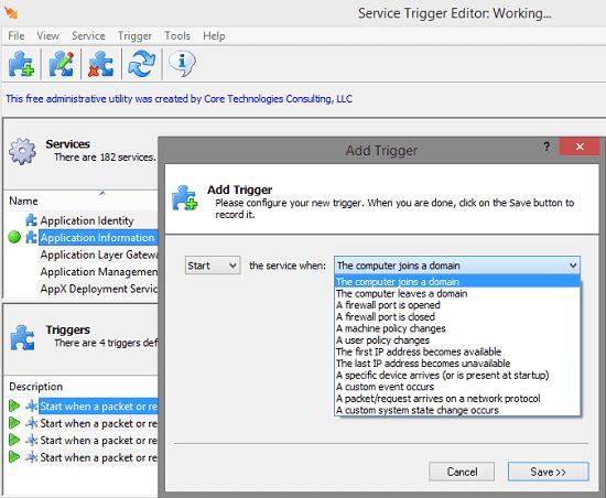Service Trigger Editor Add a Trigger