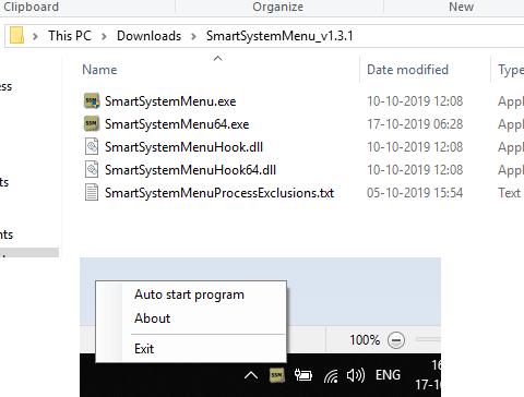 SmartSystemMenu tray menu