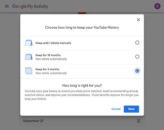 set YouTube history to auto-delete
