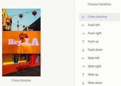 choose the transition between slides