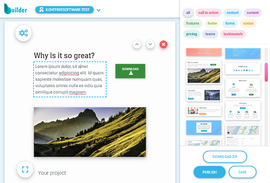 drag-drop website builder with free templates