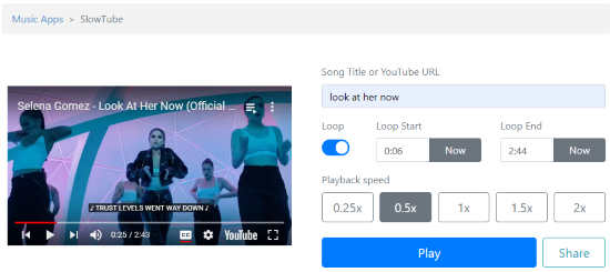 learn songs by slowing down YouTube videos