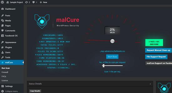 malCure WordPress malware scanner