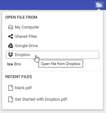open a PDF from Dropbox