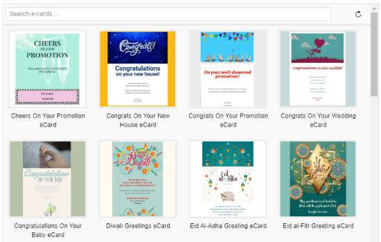 pick template for sending ecards