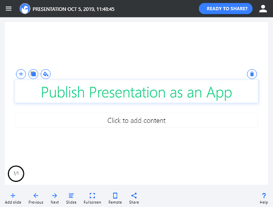 publish presentation as app