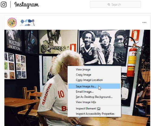 save Instagram posts with right click