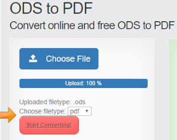 Convert ODS to PDF Online