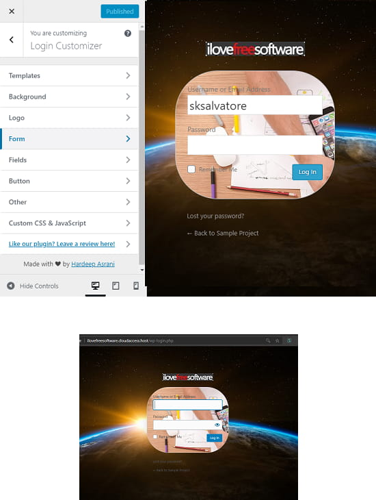 Custom Login Page Customizer hardeep