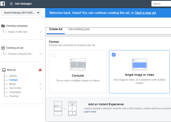 Facebook responsive ads