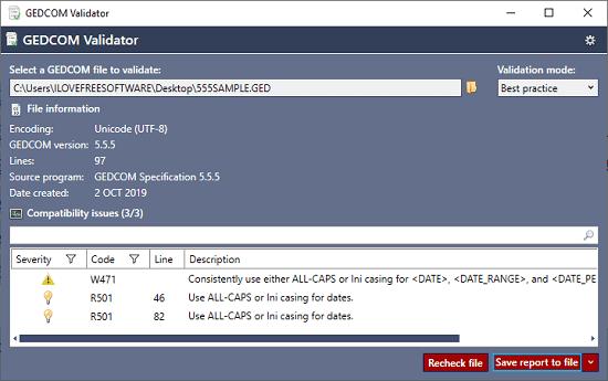 GEDCOM Validator in action