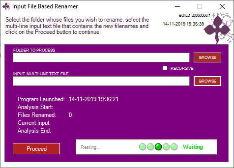 Input Based File Renamer interface