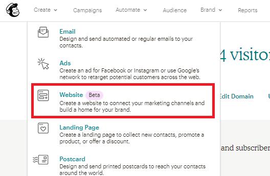 MailChimp Create Website