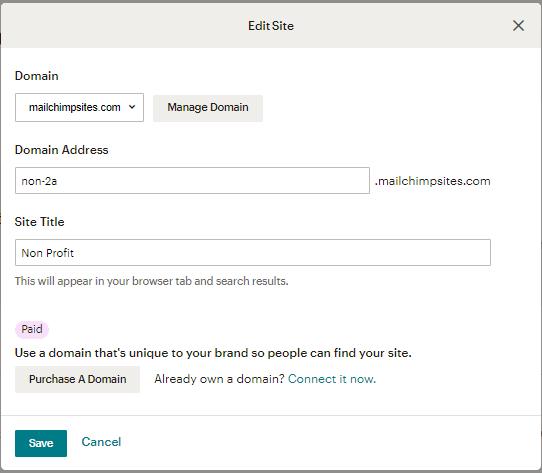 MailChimp Site Settings