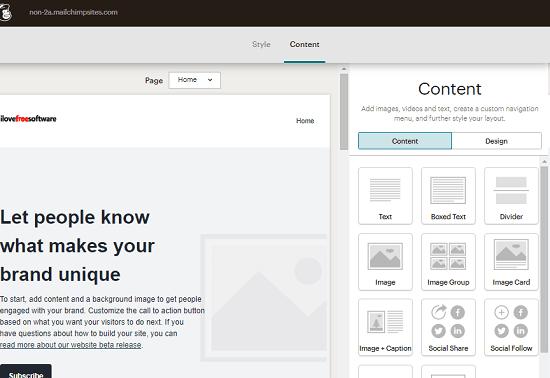 MailChimp Website Block Editor