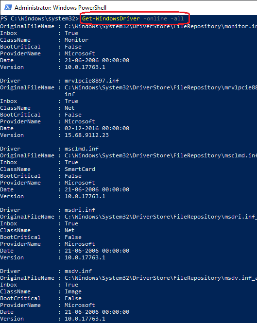 PowerShell List Installed drivers