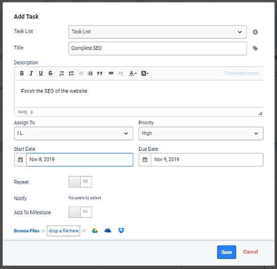Freedcamp add tasks