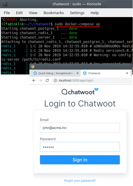 chatwoot docker compose up