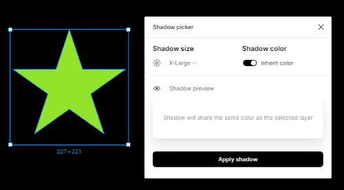 choose shadow size and color