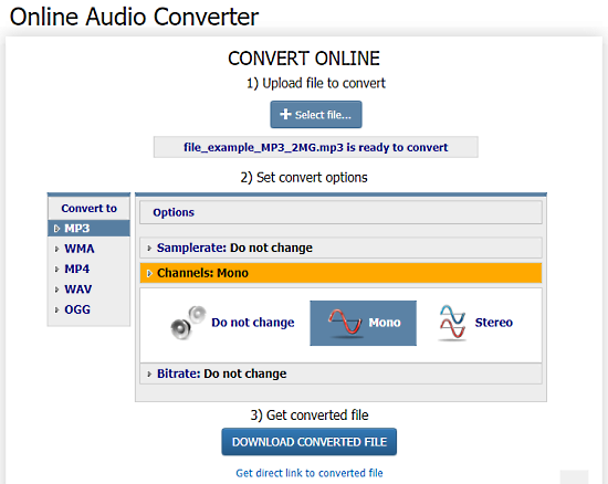 online stereo to mono converter - coolutils