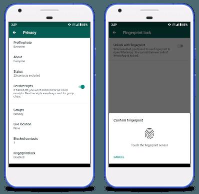 WhatsApp fingerprint unlock