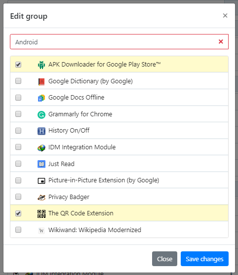 create extension groups in Google Chrome