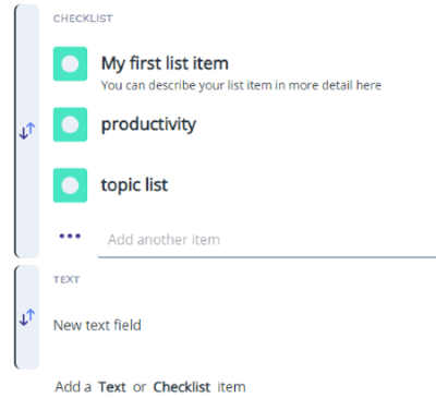 make a list with text and checklist