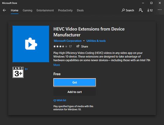 hevc plugin for Windows 10