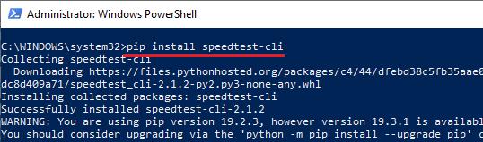 pip install speedtest cli