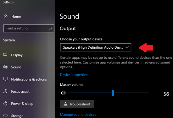 set default audio output devcie in Windows 10